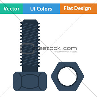 Flat design icon of bolt and nut