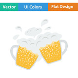 Two clinking beer mugs with fly off foam icon.