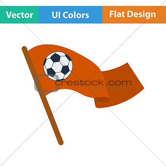 Football fans waving flag with soccer ball icon.