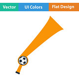 Football fans wind horn toy icon.
