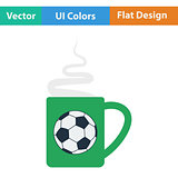 Football fans coffee cup with smoke icon