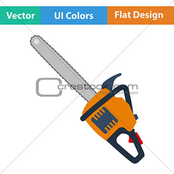 Flat design icon of chain saw