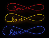 Infinite love neon sign set isolated on black background