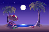 Night beach. Sea, moon, palm trees and sand. Romantic summer vacation