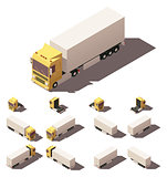 Vector isometric truck with box semi-trailer icon set