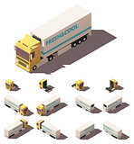 Vector isometric truck with insulated or refrigerated semi-trailer icon set
