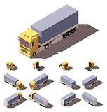 Vector isometric truck with tilt box semi-trailer icon set