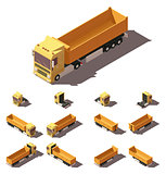 Vector isometric truck with tipper semi-trailer icon set