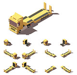 Vector isometric truck with lowboy semi-trailer icon set