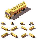 Vector isometric truck with liquid tank semi-trailer icon set