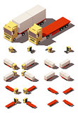 Vector isometric truck with container semi-trailer icon set
