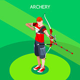 Archery 2016 Summer Games 3D Isometric Vector Illustration