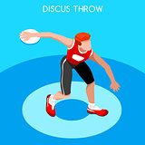Athletics Discus Throw 2016 Summer Games 3D Vector Illustration