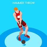 Athletics Hammer Throw 2016 Summer Games 3D Vector Illustration