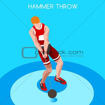 Athletics Hammer Throw 2016 Summer Games 3D Vector Illustration