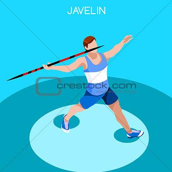 Athletics Javelin 2016 Summer Games 3D Vector Illustration
