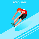 Athletics Jump 2016 Summer Games 3D Isometric Vector Illustratio