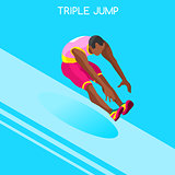 Athletics Jump 2016 Summer Games 3D Vector Illustration