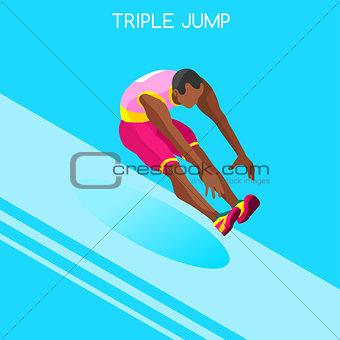 Athletics Jump 2016 Summer Games 3D Vector Illustration