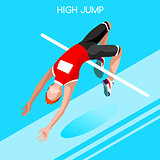 Athletics Jump 2016 Summer Games Isometric 3D Vector Illustratio