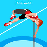 Athletics Pole Vault 2016 Summer Games 3D Vector Illustration