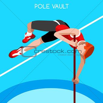 Athletics Pole Vault 2016 Summer Games 3D Vector Illustration