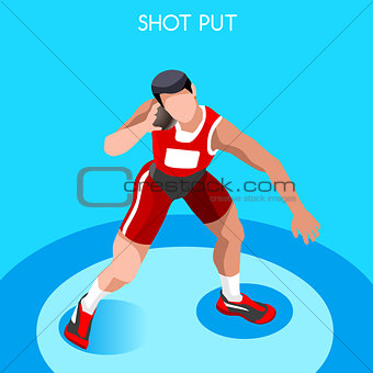 Athletics Shot Put 2016 Summer Games 3D Vector Illustration
