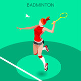 Badminton 2016 Summer Games 3D Isometric Vector Illustration