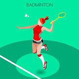 Badminton 2016 Summer Games 3D Isometric Vector Illustration