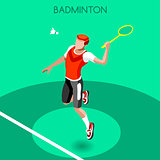 Badminton 2016 Summer Games Isometric 3D Vector Illustration