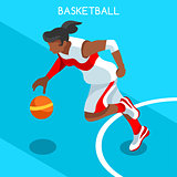 Basketball 2016 Summer Games 3D Isometric Vector Illustration