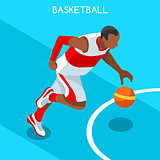 Basketball 2016 Summer Games Isometric 3D Vector Illustration