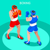 Boxing 2016 Summer Games 3D Isometric Vector Illustration