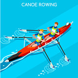 Canoe Rowing 2016 Summer Games Isometric 3D Vector Illustration