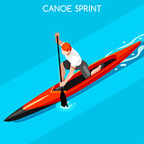 Canoe Sprint 2016 Summer Games Isometric 3D Vector Illustration
