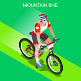 Cycling Mountain Bike 2016 Summer Games 3D Isometric Vector Ill