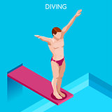 Diving 2016 Summer Games Isometric 3D Vector Illustration