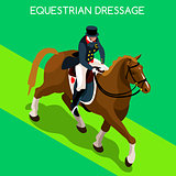 Equestrian Dressage 2016 Summer Games 3D Vector Illustration
