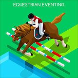 Equestrian Eventing 2016 Summer Games 3D Vector Illustration