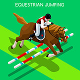 Equestrian Jumping 2016 Summer Games 3D Vector Illustration