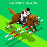 Equestrian Jumping 2016 Summer Games 3D Vector Illustration