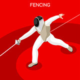 Fencing 2016 Summer Games 3D Isometric Vector Illustration