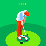 Golf 2016 Summer Games 3D Isometric Vector Illustration