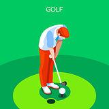 Golf 2016 Summer Games 3D Isometric Vector Illustration