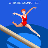 Gymnastics Balance Beam 2016 Summer Games 3D Vector Illustration