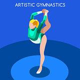 Gymnastics Floor Ex 2016 Summer Games 3D Vector Illustration