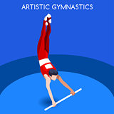 Gymnastics High Bar 2016 Summer Games 3D Vector Illustration