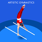 Gymnastics Parallel Bars 2016 Summer Games 3D Vector Illustratio