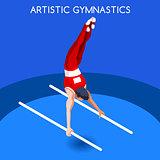 Gymnastics Parallel Bars 2016 Summer Games 3D Vector Illustratio