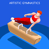 Gymnastics Pommel Horse 2016 Summer Games 3D Vector Illustration